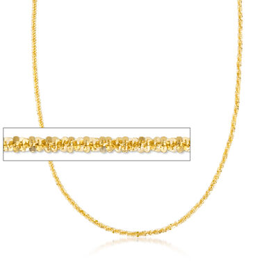 Italian 2mm 18kt Gold Over Sterling Silver Diamond-Cut Chain Necklace