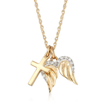 14kt Yellow Gold Cross and Angel Wings Pendant Necklace with Diamond Accents, , default