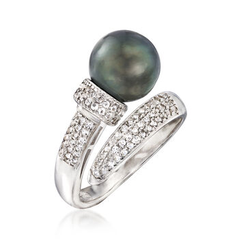 9-10mm Tahitian Pearl and .60 ct. t.w. White Topaz Bypass Ring in Sterling Silver, , default