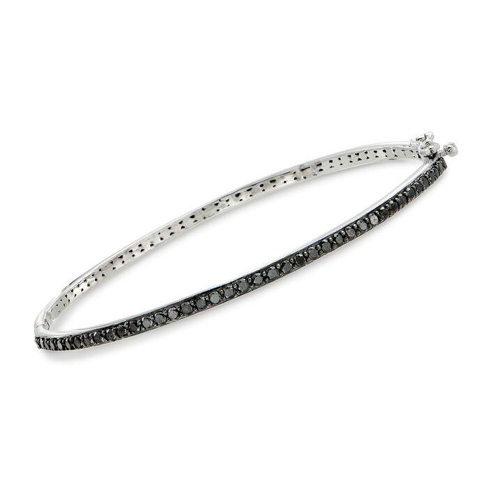 1.00 ct. t.w. Black Diamond Bangle Bracelet in Sterling Silver