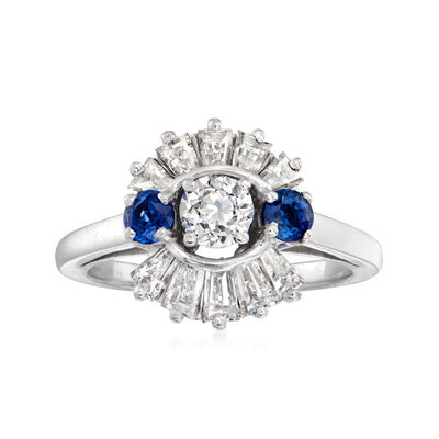 C. 1970 Vintage 1.40 ct. t.w. Diamond and .40 ct. t.w. Sapphire Ring in Platinum