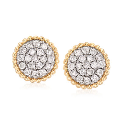 1.00 ct. t.w. Diamond Cluster Earrings in 14kt Yellow Gold