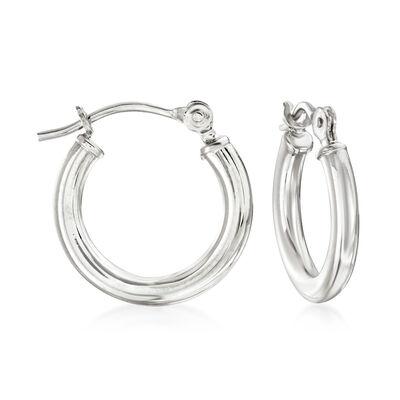 1.5mm 14kt White Gold Small Hoop Earrings, , default