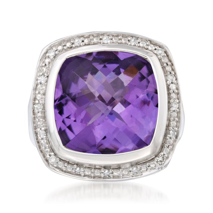 9.10 Carat Amethyst and Diamond Ring in Sterling Silver