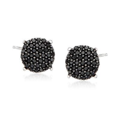 .33 ct. t.w. Black Diamond Cluster Stud Earrings in Sterling Silver