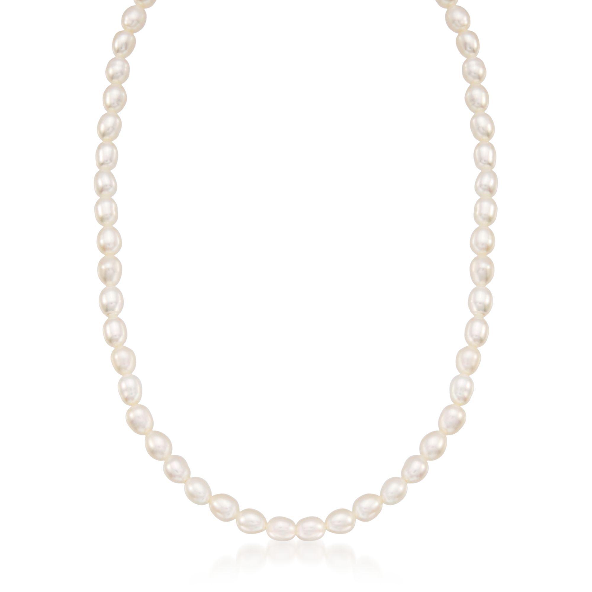 6 14k Yellow Gold 4-4.5mm Girls White Freshwater Cultured Pearl Bracelet