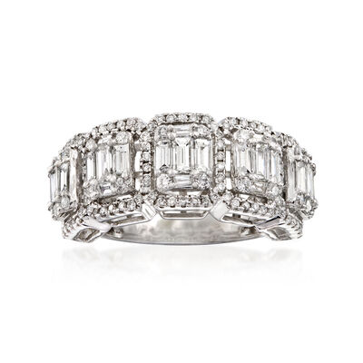 1.85 ct. t.w. Baguette and Round Diamond Ring in 14kt White Gold, , default