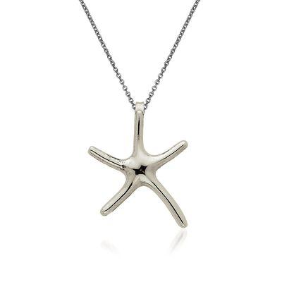 14kt White Gold Starfish Pendant Necklace, , default
