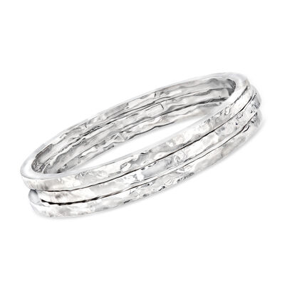 Italian Sterling Silver Jewelry Set: Three Hammered Bangle Bracelets, , default
