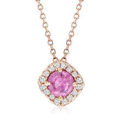 .50 Carat Pink Sapphire and Diamond-Accented Necklace in 14kt Rose Gold