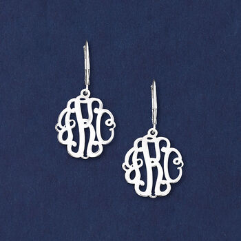 Sterling Silver Small Script Monogram Drop Earrings, , default