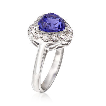 3.60 Carat Tanzanite and 1.00 ct. t.w. Diamond Heart Ring in 18kt White Gold. Size 7