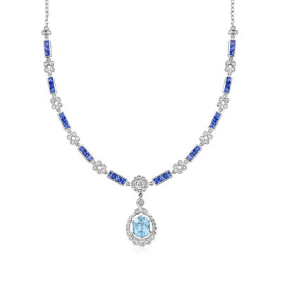 C. 1980 Vintage 3.35 Carat Sky Blue Topaz, 2.15 ct. t.w. Diamond and 3.60 ct. t.w. Sapphire Drop Necklace in 18kt White Gold