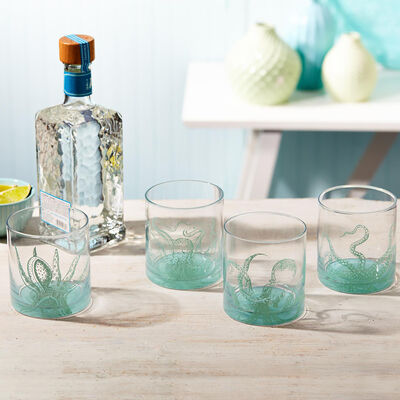 """Octopus"" Set of Four Ocean Water Double Old Fashioned Glasses, , default"