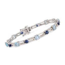 "4.80 ct. t.w. Blue Topaz, 2.40 Sapphire and .26 ct. t.w. Diamond Bracelet. 8.25"", , default"
