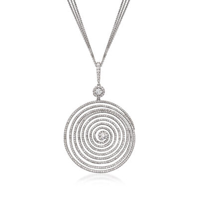 C. 1990 Vintage 3.00 ct. t.w. Diamond Swirl Pendant Necklace in 18kt White Gold