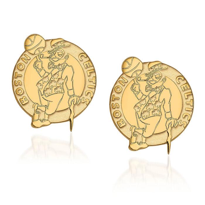 14kt Yellow Gold NBA Boston Celtics Logo Earrings, , default