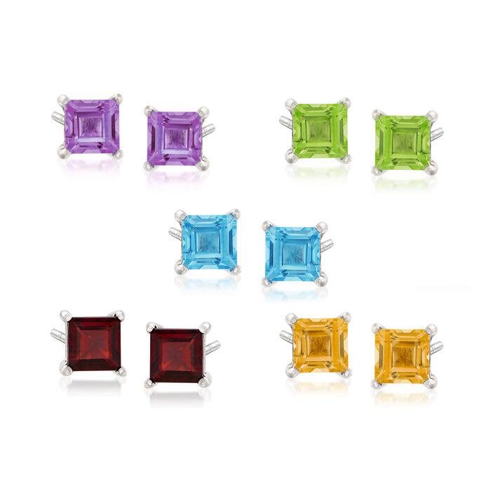 Multi-Gem Jewelry Set: Five Pairs of Stud Earrings in Sterling Silver, , default