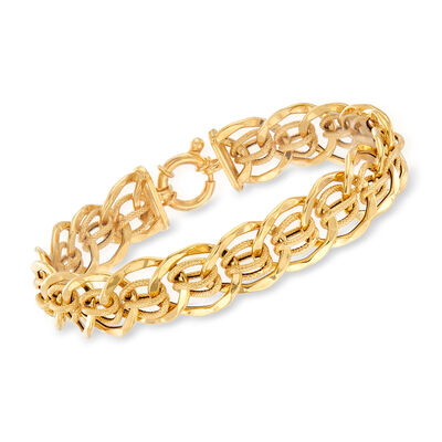 Italian 14kt Yellow Gold Interlocking Link Bracelet, , default