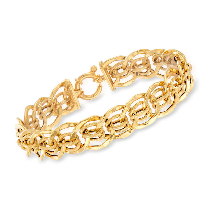 Italian 14kt Yellow Gold Interlocking Link Bracelet