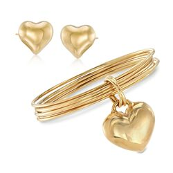 "Italian Andiamo 14kt Yellow Gold Heart Set: Earrings and Bangle Bracelet. 7"", , default"