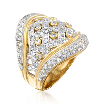 C. 1980 Vintage 2.00 ct. t.w. Diamond Basketweave Ring in 18kt Two-Tone Gold. Size 6