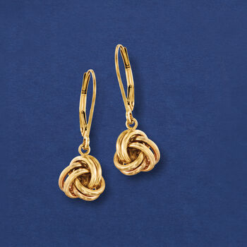 14kt Yellow Gold Love Knot Drop Earrings