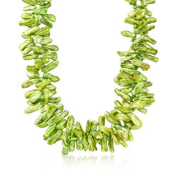 Green Cultured Baroque Biwa Pearl Necklace in Sterling Silver, , default