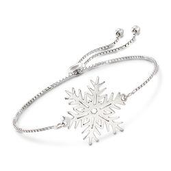 Sterling Silver Snowflake Bolo Bracelet, , default