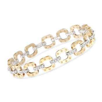 """Roberto Coin """"Pois Moi"""" 1.70 ct. t.w. Diamond Link Bracelet in 18kt Two-Tone Gold. 7"""", , default"""