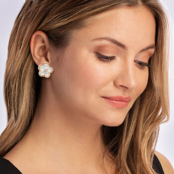 Mother-Of-Pearl and .60 ct. t.w. Diamond Flower Earrings in 14kt Yellow Gold