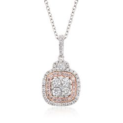 "Gregg Ruth .92 ct. t.w. Pink and White Diamond Pendant Necklace in 18kt Two-Tone Gold. 18"", , default"