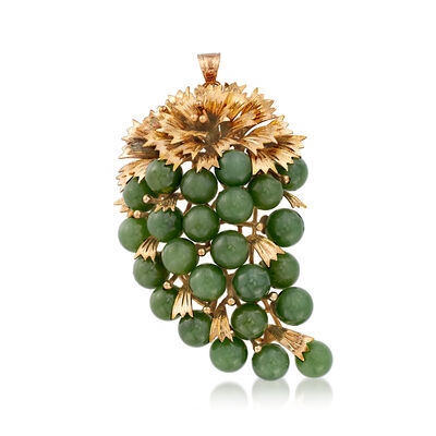 C. 1970 Vintage Jade Bead Grape Pin/Pendant in 10kt Yellow Gold