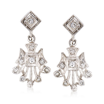 C. 1950 Vintage .50 ct. t.w. Diamond Drop Clip-On Earrings in 14kt White Gold, , default