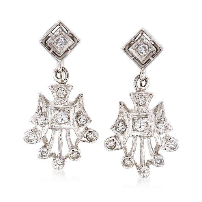 C. 1950 Vintage .50 ct. t.w. Diamond Drop Clip-On Earrings in 14kt White Gold, , default