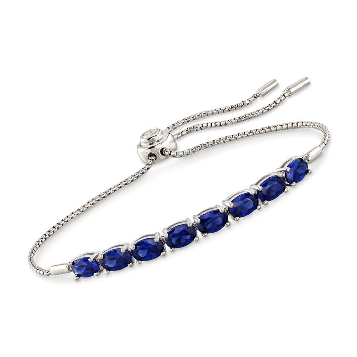Simulated Sapphire and .16 Carat CZ Bolo Bracelet in Sterling Silver