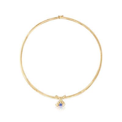 C. 1980 Vintage .65 Carat Tanzanite Pendant Omega Necklace in 14kt Yellow Gold, , default