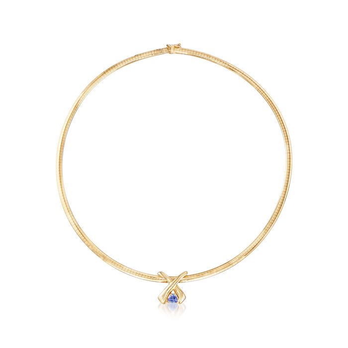 "C. 1980 Vintage .65 Carat Tanzanite Pendant Omega Necklace in 14kt Yellow Gold. 18"", , default"