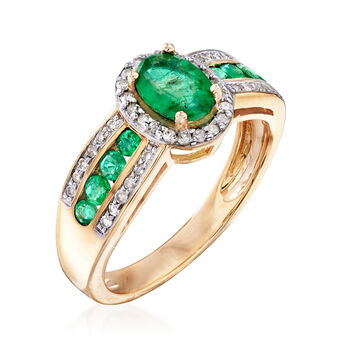 1.20 ct. t.w. Emerald and .22 ct. t.w. Diamond Ring in 14kt Yellow Gold, , default