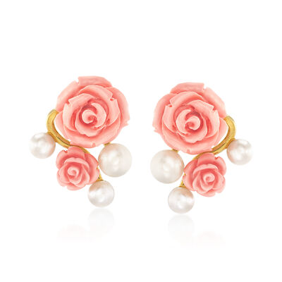 Italian 6-8mm Cultured Button Pearl and Pink Rose Drop Earrings in 18kt Gold Over Sterling, , default