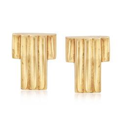 """C. 1940 Vintage Tiffany Jewelry """"T"""" Shape Earrings in 14kt Yellow Gold, , default"""