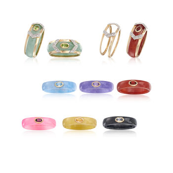 Multicolored Jade and Multi-Stone Jewelry Set: Seven Bands with Diamond-Accented 14kt Gold Ring Jacket. Size 5, , default
