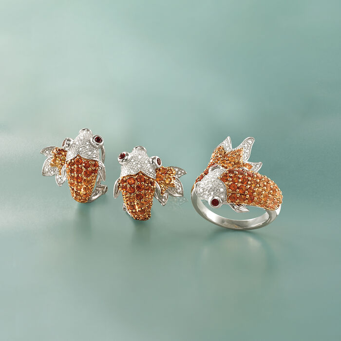 1.20 ct. t.w. Citrine and .15 ct. t.w. Garnet Koi Earrings with Diamonds in Sterling Silver