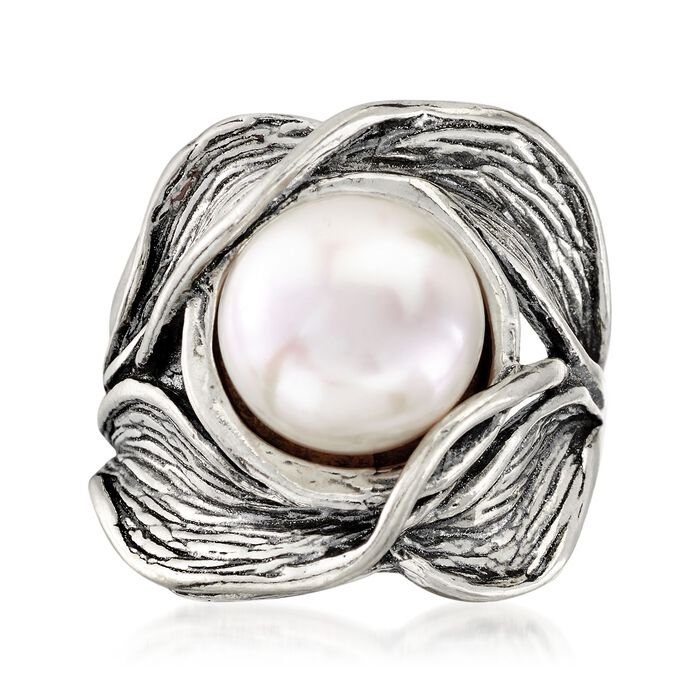 11mm Cultured Pearl Floral Ring in Sterling Silver. Size 5, , default