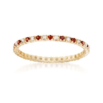 .20 ct. t.w. Garnet and .14 ct. t.w. Diamond Eternity Band in 14kt Yellow Gold