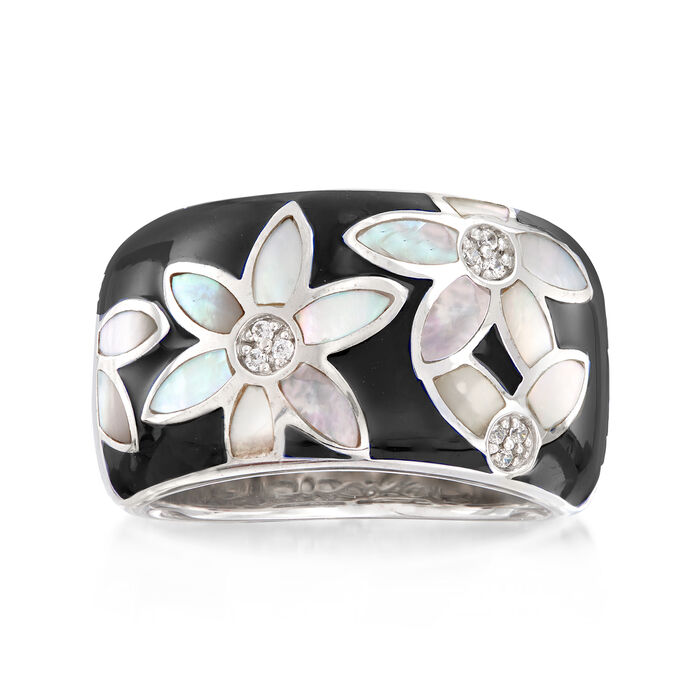 """Belle Etoile """"Moonflower"""" Black Enamel and Mother-Of-Pearl Ring with CZ Accents in Sterling Silver"""