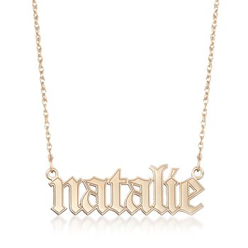 "14kt Yellow Gold Gothic-Type Name Necklace. 18"", , default"