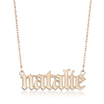14kt Yellow Gold Gothic-Type Name Necklace, , default