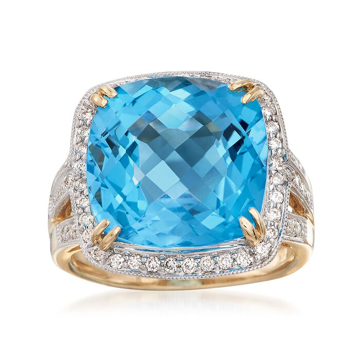 12.00 Carat Cushion-Cut Blue Topaz and .40 ct. t.w. Diamond Ring in 14kt Yellow Gold, , default