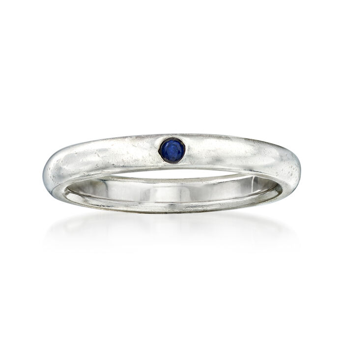 C. 1990 Vintage Tiffany Jewelry Sterling Silver Ring with Sapphire Accent. Size 5.5, , default